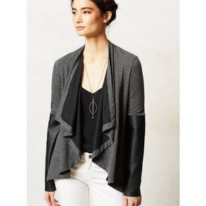 Bordeaux Contast Study Cardi Vegan Leather Sleeves